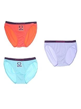 UNNO Braguita Pack x 3 Bikini (Naranja/Celeste/Turquesa)