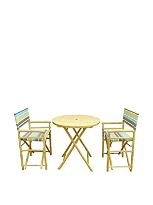 ZEW, Inc. Round Table & Director Chair Set, Green Stripes