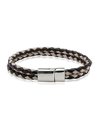 Van Maar Armband Echtleder, schwarz/weiß