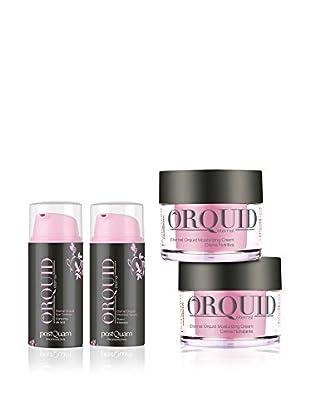 PostQuam Gesichts- und Augenpflege 4 tlg. Set Orchid Eye Contour 30ml, Intensiv-Serum 30 ml, 2 x 50 ml Gesichtscreme