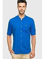 Blue Linen Regular Fit Casual Shirt Status Quo
