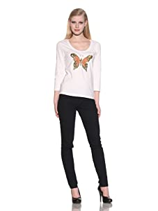 Michael Simon Women's 3/4 Sleeve Scoop Neck Butterfly Top (White)
