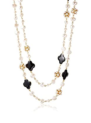 Karine Sultan Jewelry Pearls And Black Enamel Clover Necklace