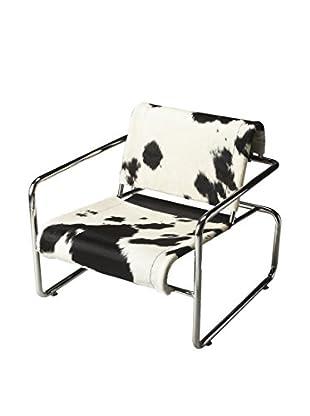 Butler Accent Chair, White/Black/Chrome
