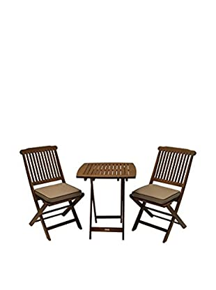 Outdoor Interiors Eucalyptus 3-Piece Bistro Set, Brown/Beige
