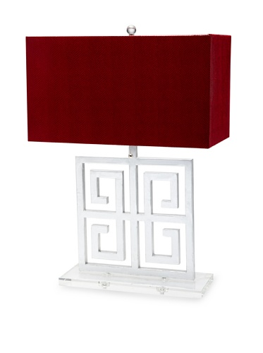 A&F Lighting Horizon Series Santorini Table Lamp, Silver/Red