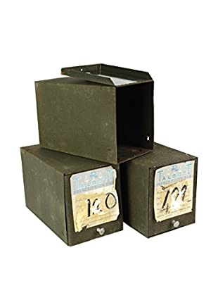 Uptown Down Found Hinged Metal Prescription Record Boxes with Paper Labels
