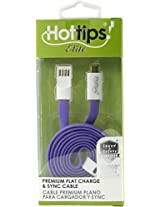hottips premium flat cable & sync cable micro usb - purple