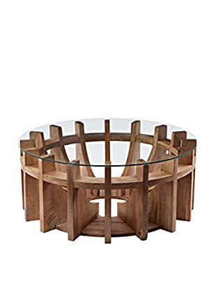 Artistic Lighting Wooden Sundial Coffee Table, Natural Mango