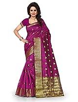 Shree Sanskruti Self Design Tassar Silk Purple Color Saree For Women With Blouse Piece