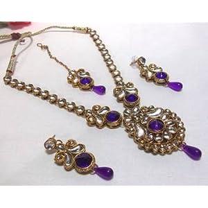 Necklace sets - Purple Drop Kundan Necklace Set