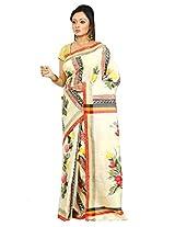 B3Fashion Handloom handpainted cum block printed Pure Bishnupur Tussar Silk saree