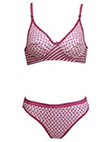 Glus Women Geo Design Non Wire Bra And Bikini Cut Panty , Cup Size - B (32, Pink)
