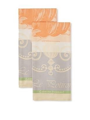 Garnier-Thiebaut Set of 2 Potiron Kitchen Towels, Rouille, 22
