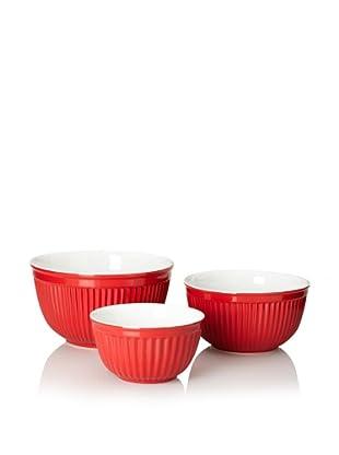Reco Römertopf Set of 3 Ribbed Bowls (Red)