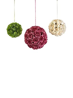 Florence Rose Decorative Hanging Ball, Set of 3