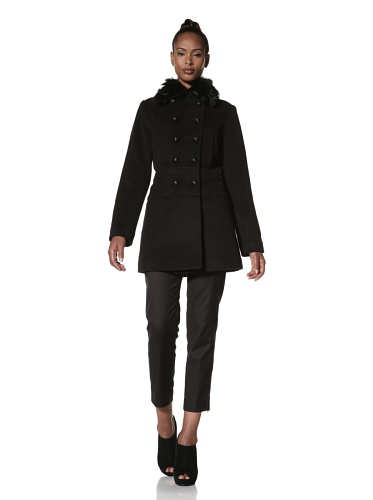 Hilary Radley Women's Military Jacket with Fox Fur (Black)