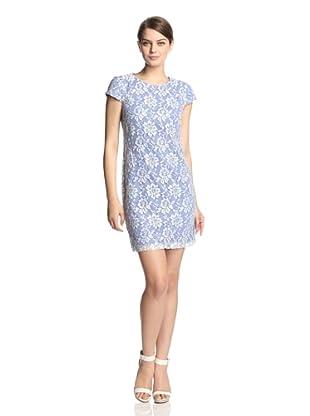 Ivy & Blu Women's Lace Contrast Shift Dress (Blue)