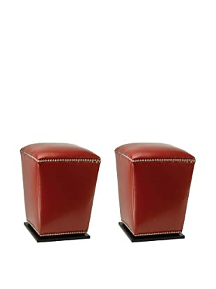 Safavieh Set of 2 Mason Ottomans, Red