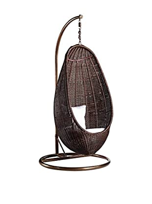Manhattan Living Rattan Hanging Chair with Stand, Chocolate