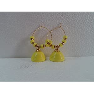 B Jeweled Yellow Quilled Earring