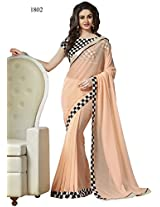 Indian Fashionista Cream Light Embriodered Bollywood Fashion Pure Georgette Saree