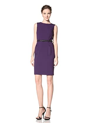 Calvin Klein Women's Sleeveless Dress with Button Detail and Belt (Night/Black)