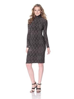 KAMALIKULTURE Women's Turtleneck Dress (Grey Lace Fencing)