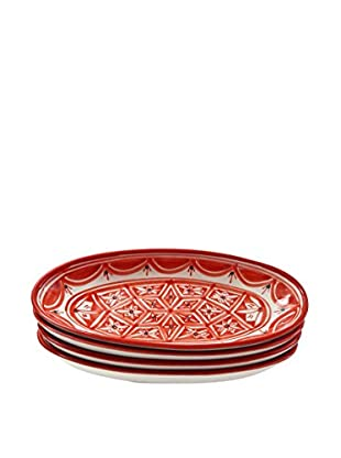 Le Souk Ceramique Nejma Set of 4 Small Oval Platters, Red/White