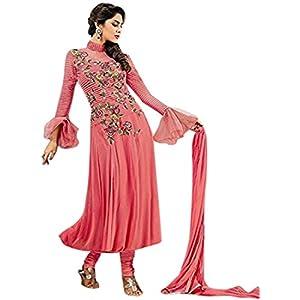 Pink Georgette Top With Santoon Bottom & Chiffon Dupatta Resham Embroidery Work & Kundan Work Anarkali Salwar Kameez Suit