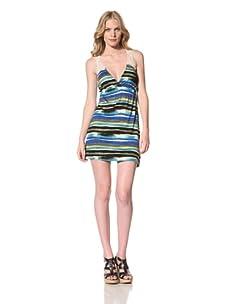 Ceci Women's Mini Dress With Lace Back Detail (Ocean Blue Medley)