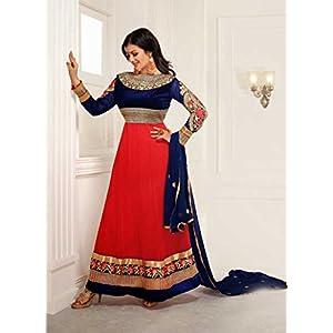 Ayesha Takia Orange and Blue Embroidered Long Anarkali Suit
