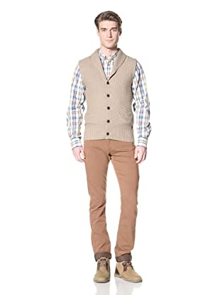 Ben Sherman Men's Shawl Collar Vest (Sea Sand Mar)