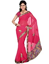 Pink Solid Saree Ishin