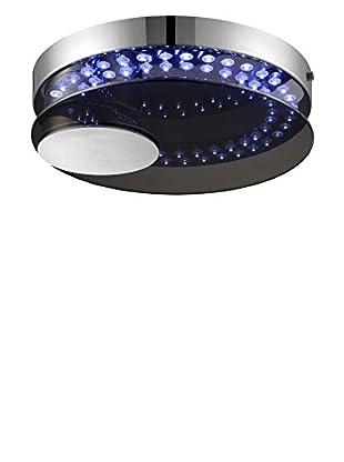 Lite Source Kelcy LED Round Flush Mount, Chrome/Smoke