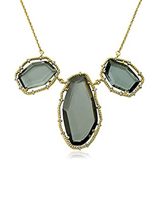 Riccova Sliced Black Glass Statement Necklace with CZs