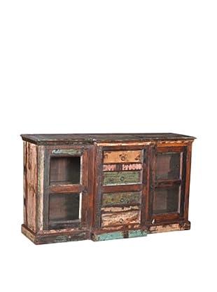 Moti Mezzanine 2-Door 4-Drawer Buffet, Brown/Multi
