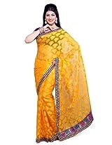 Ishin Net Saree With Blouse Piece ( 818_Yellow)