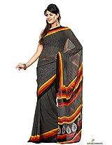 Chiffon Printed Saree In Black Colour
