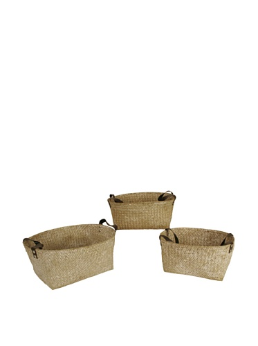 Wald Imports Set of 3 Seagrass-Reed Baskets with Faux Leather Handles (Whitewash)