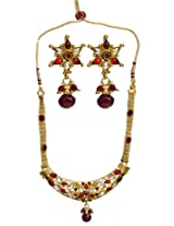 Exotic India Red Polki Necklace Set with Earrings - Copper Alloy with Cut Glass