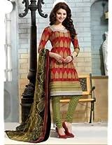 Saara Red And Green Printed Dress Material - 144D4041