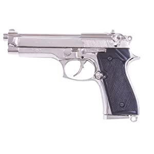 Denix Replica M92 Automatic Non-Firing Gun, Nickel Finish