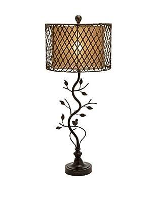 Metal, Polystone & Rattan 1-Light Table Lamp, Dark Bronze