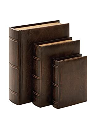 Set of 3 Faux Leather Book Boxes, Brown