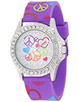 Frenzy Kids' FR802B Peace Print Purple Analog Watch