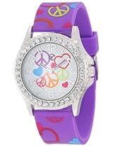 Frenzy Kids' FR802B Peace Print Purple Analog Watch