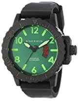 Android Divemaster Trans AD474BGR 50MM Swiss Quartz Analog Green Dial Men's Black Rubber Band Watch