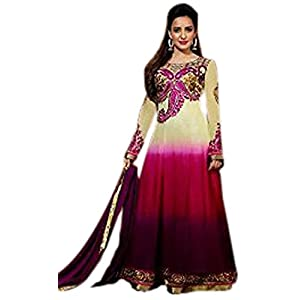 Neha Sharma Long Floor length Cream, Pink & Purple Georgette Top With Santoon Bottom & Chiffon Dupatta Resham & Zari Embroidery Work Anarkali Salwar Suit