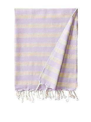 Nomadic Thread Society Turkish Throw & Shawl, Beige/Lavender